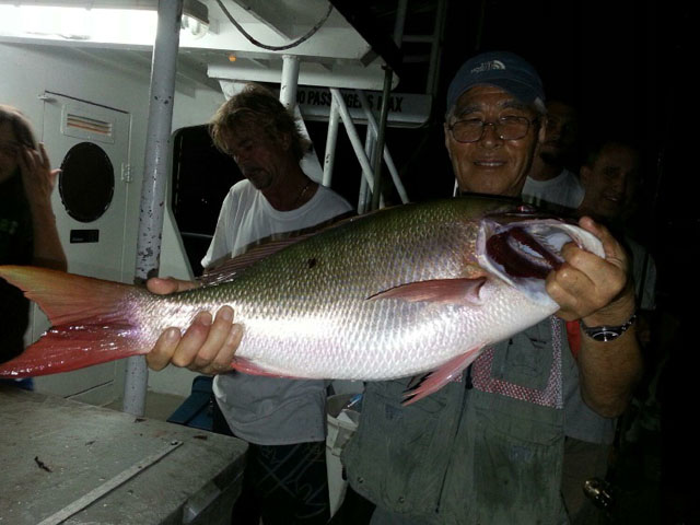 mutton snapper caught night fishing in Ft Lauderdale
