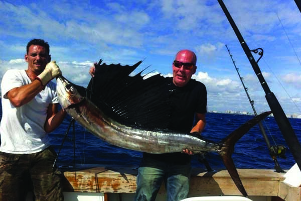 Sailfish caught on sportfishing charter