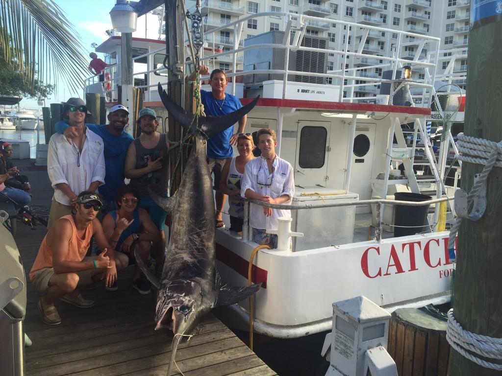 500 pound swordfish caught on our daytime swordfishing trip