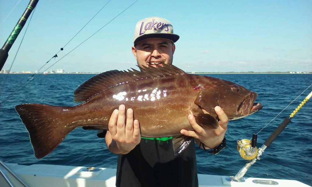 Guy holding a black grouper in the boat.