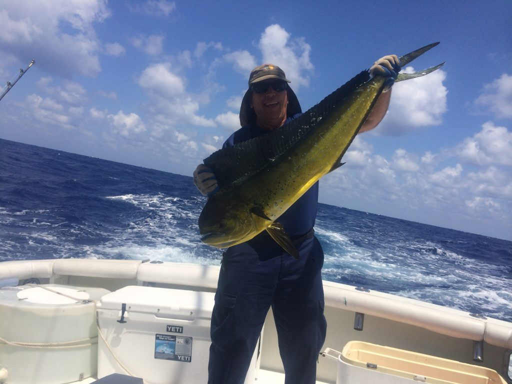 Capt. Chuck holding a nice dolphin