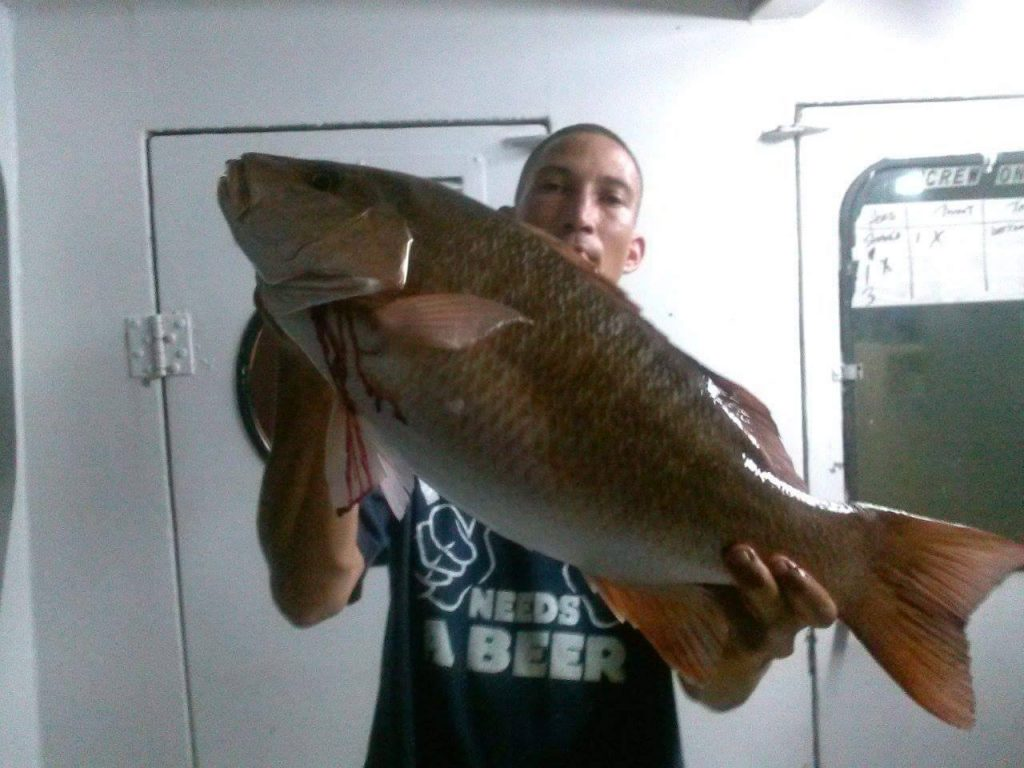 Lucky guy aboard the Catch My Drift caught this huge mangrove snapper on the night trip.