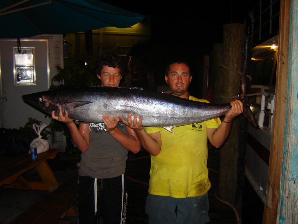 Kevin and the fisher who caught the big fish on our Friday night swordfishing trip.
