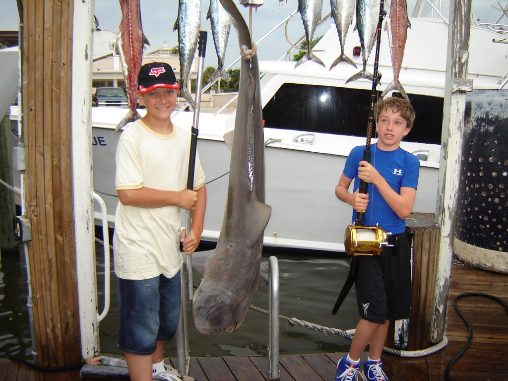 These kids caught a great big shark on their Fort Lauderdale shark fishing charter