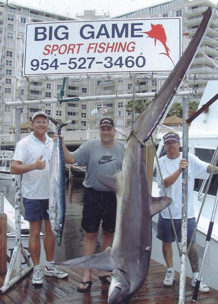 Awesome pic of a huge 15 plus foot thresher shark and a nice wahoo caught on our shark fishing charter in Ft Lauderdale