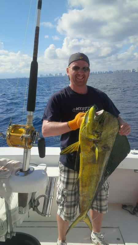 Nice bull dolphin caught sportfishing in Ft Lauderdale