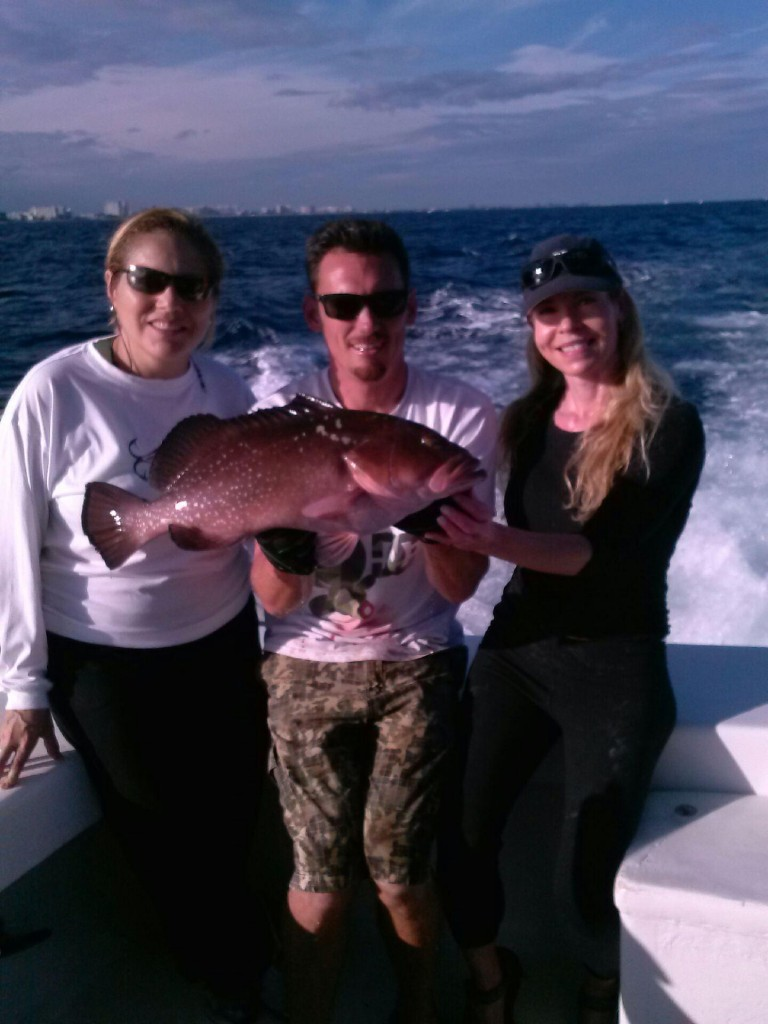 Nice red grouper just caught fishing over a shipwreck