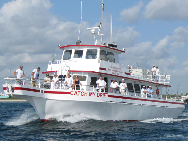 Catch My Drift heading our Ft Lauderdale inlet on a deep sea fishing charter