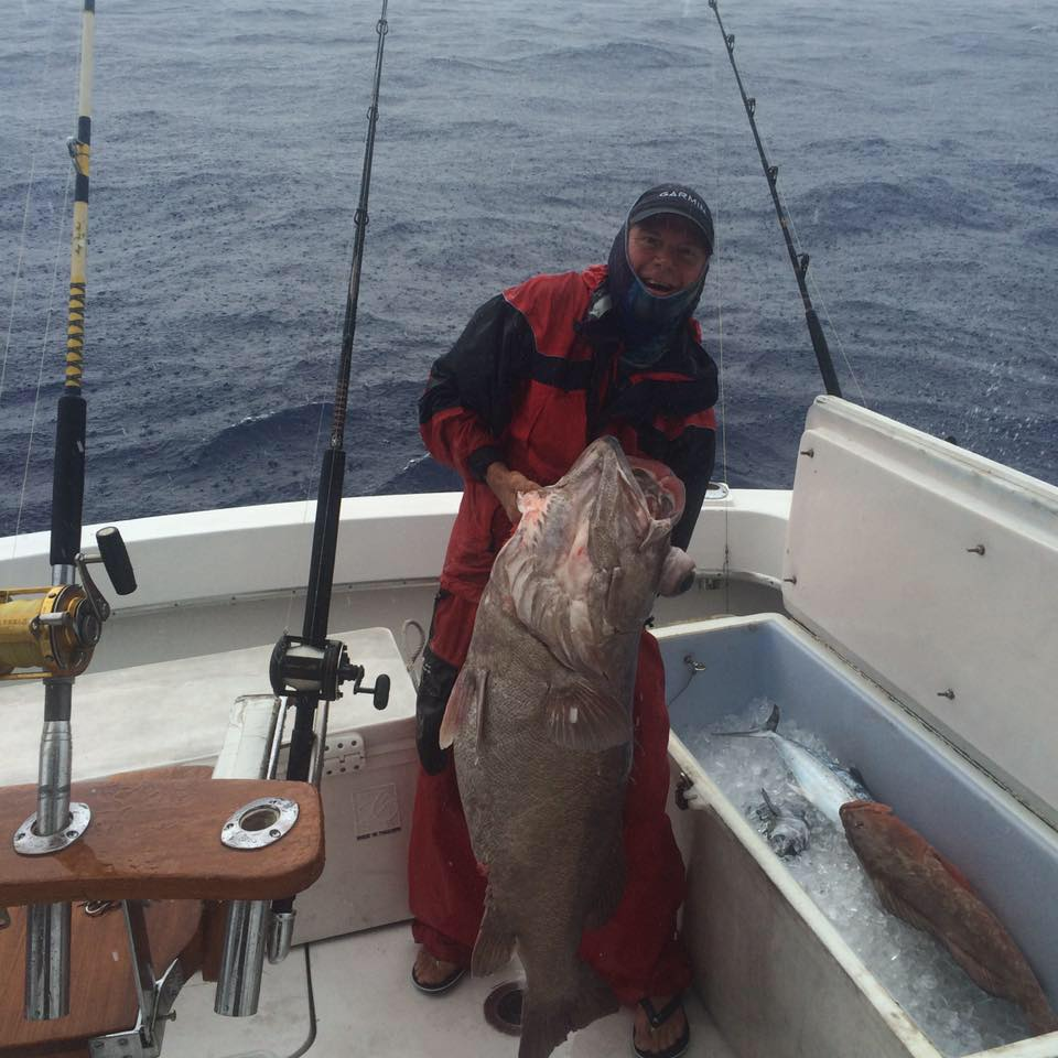 Huge wreck fish in the boat caught deep dropping.