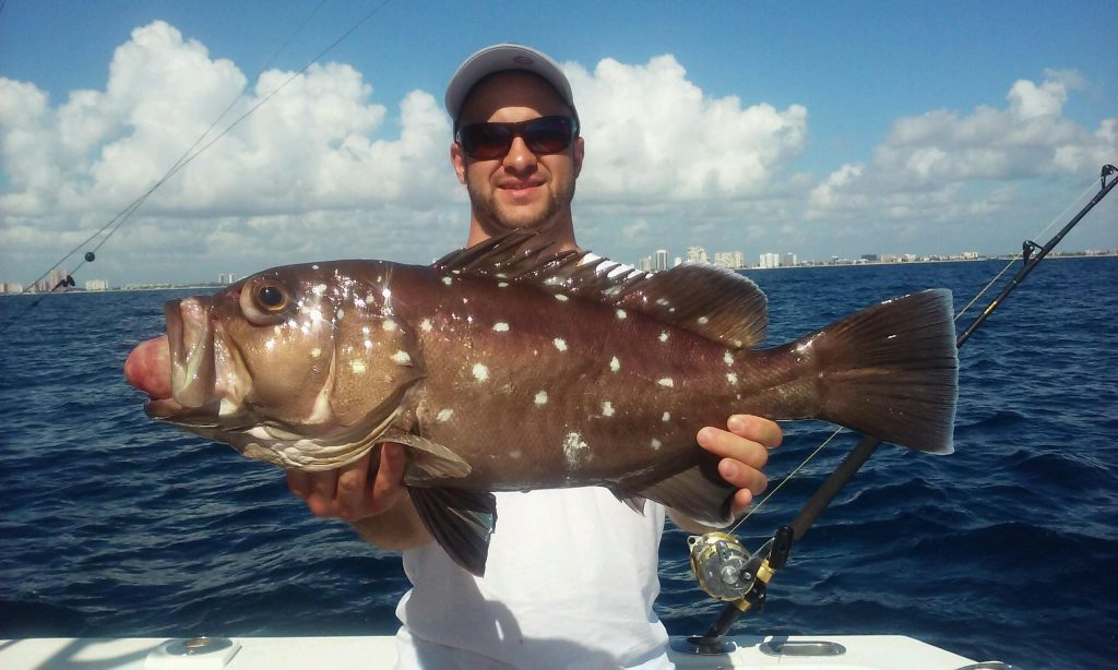 Happy angler holding a nice snowy grouper