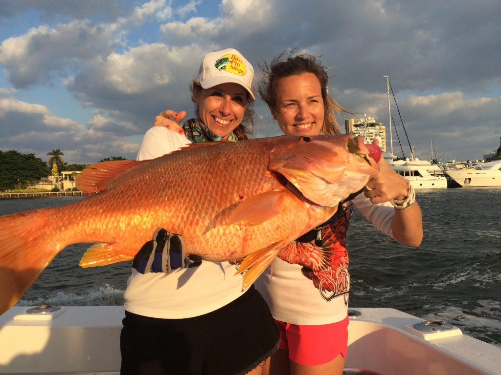 Nice snapper with some fisher gals on the way in from fishing