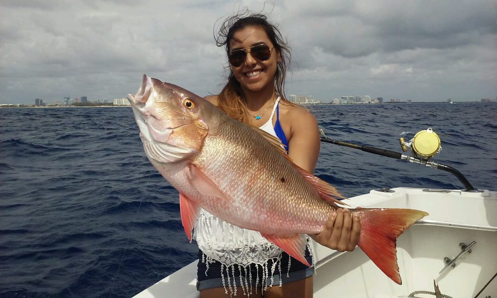 Nice mutton snapper caught deep dropping.